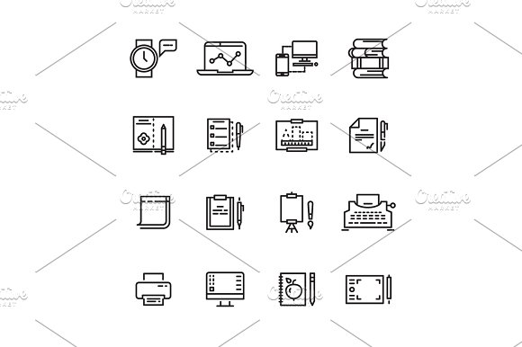 Creative Science Writing Tools Line Icons Set
