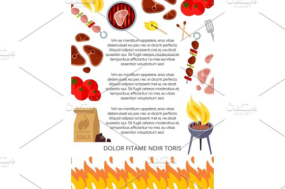 Grill House Or Barbeque Poster Design