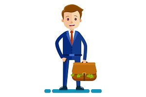 Businessman with bag Full of Money Illustration