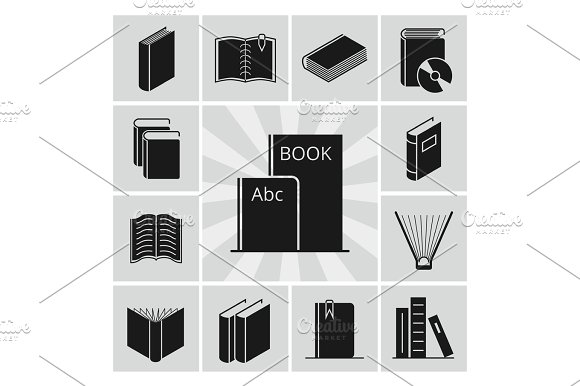 Black Books Silhouettes Icons Collection