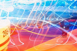 Horizontal motion light traces background