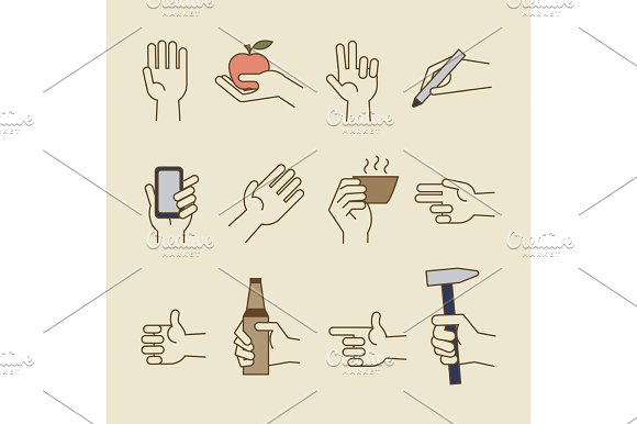 Vintage Hand Line Icons With Bottle Cup
