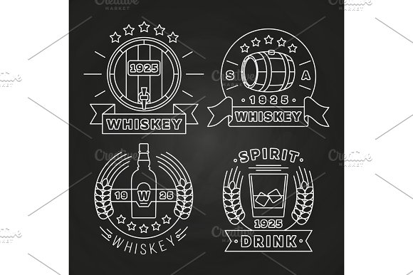 Whiskey And Drink Labels Collection On Chalkboard