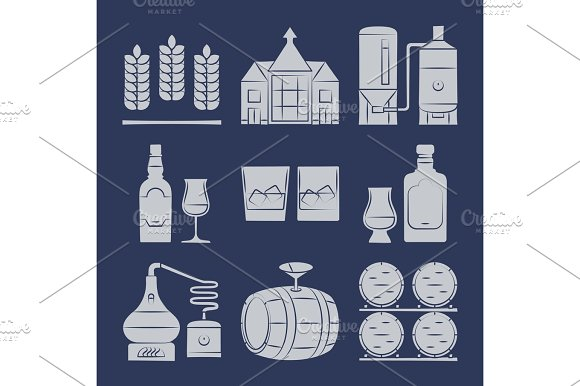 Whisky Silhouette Icons Collection On Blue