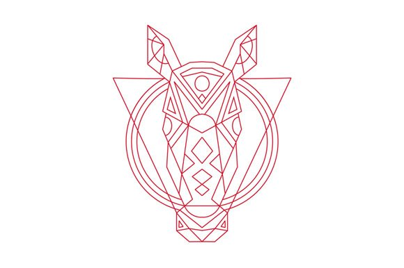 Geometric Horse Head Line Drawing