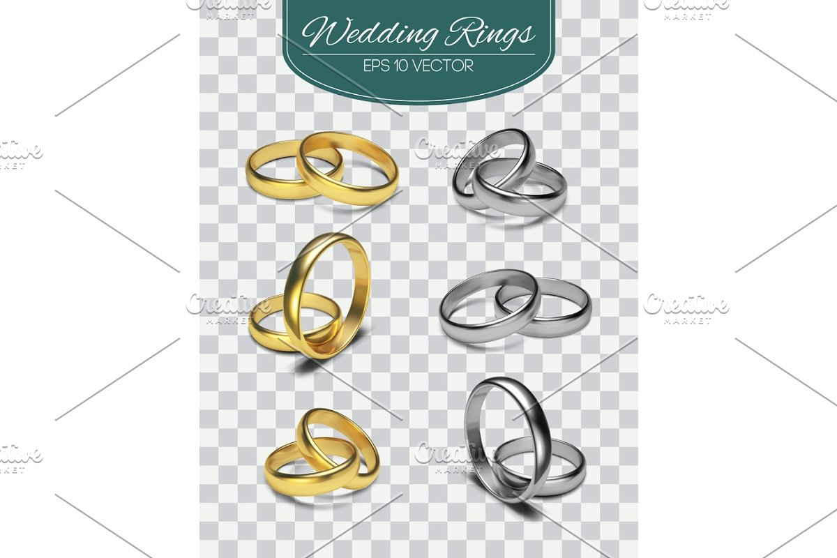 Gold Vector Wedding Rings Isolated On Trasparent Background Vector Illustration Marriage Invitation Elements