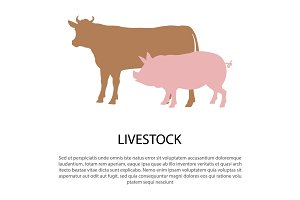 Livestock Poster with Pink Pig and Cow Silhouettes