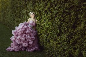 Woman in a beautiful fluffy dress.