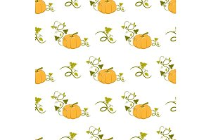 Ripe Pumpkin with Curly Stem Seamless Pattern