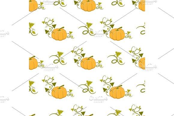 Ripe Pumpkin With Curly Stem Seamless Pattern