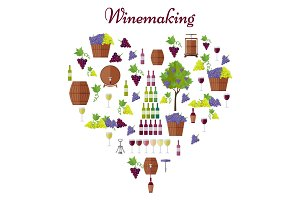 Elite Winemaking Poster Vector in Heart Shape