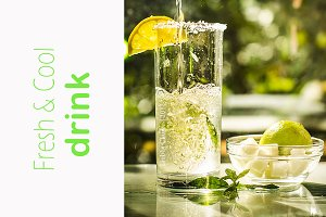 Fresh cool drink with mint and lime