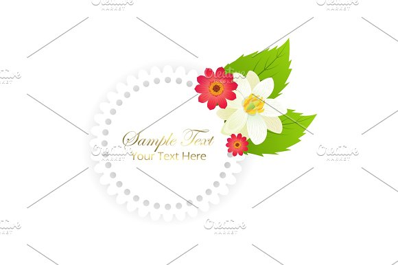Happy Holiday Postcard With Flowers In Round Frame