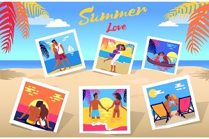 Summer Love Poster with Photos of Couples Set