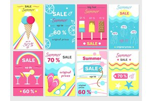 Summer Sale Up to 70% Promotional Posters Set