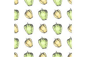 Yellow and Green Pepper on White Seamless Pattern