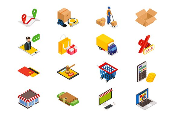 Online Shopping Isometric Items