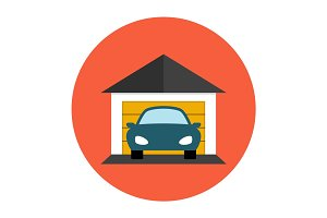 Garage car icon flat