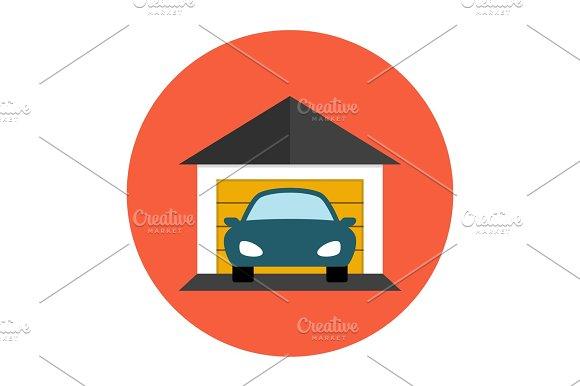 Garage Car Icon Flat