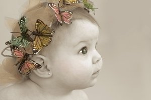 Baby Girl with Butterfly Tiara