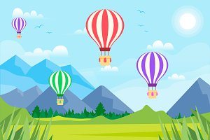 Hot Balloons Cute Landscape