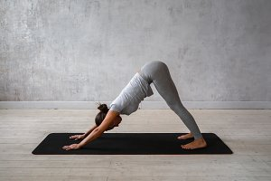 Woman practicing advanced yoga. A series of yoga poses
