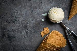 Vanilla ice cream on rustic background