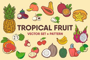 Tropical Fruits Vector Set + Pattern