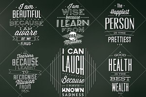 Vintage Chalkboard Quote Badges PSDs