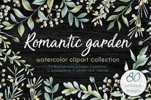 Romantic garden. Watercolor cliparts