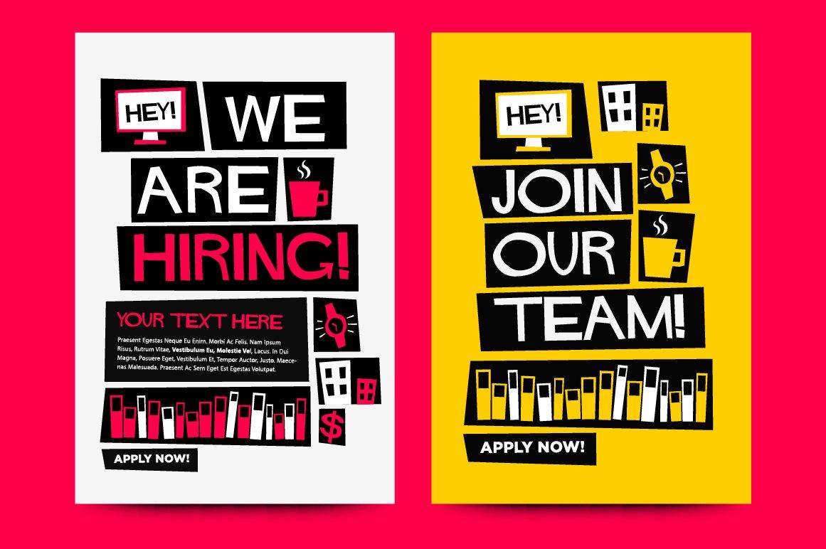 job recruitment poster templates graphics creative market