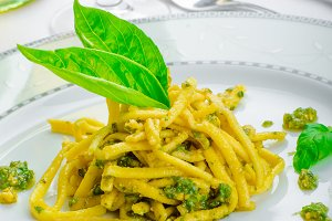 Italian pasta with basil pesto, late harvest wine