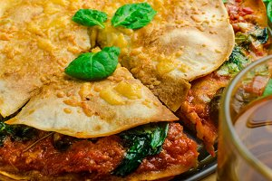 Vegetarian tortilla and bolognese sauce