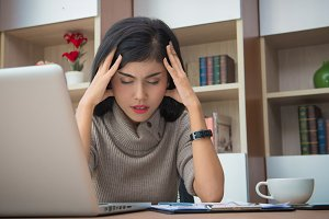 woman tired and Stressed from work