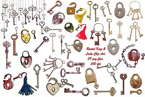 Skeleton/Rusted Keys Locks Clip Art