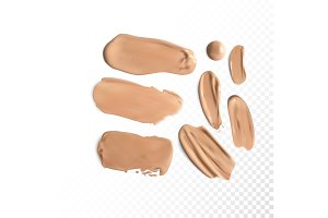 Cosmetic concealer smear strokes, tone cream smudged Vector.