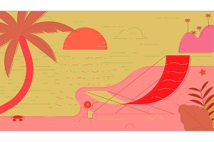 Beach Summer Vector Illustration