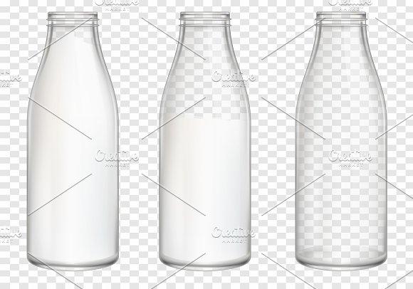 Realistic Milk Bottles Mockup Vector