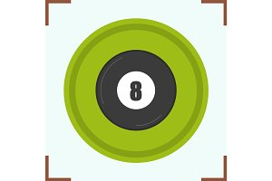 Billiard eight ball color icon