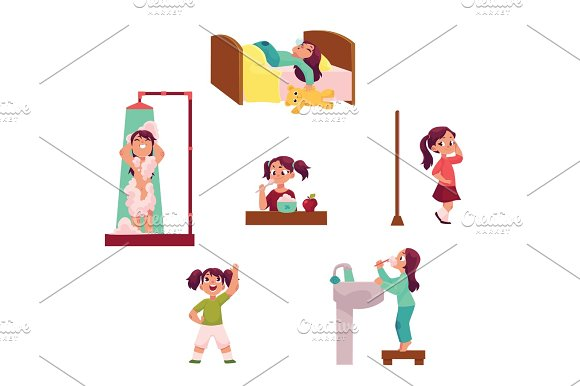 Daily Morning Routine Set Little Girl