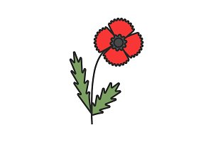 Poppy flower color icon