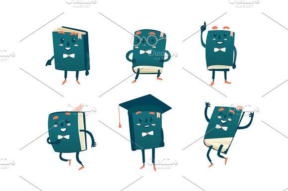 Set Of Funny Book Characters Mascots Cartoon Vector Illustration