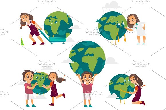 Kids Hugging Holding Playing With Globe Earth