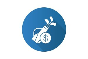 Golf equipment shop flat design long shadow glyph icon