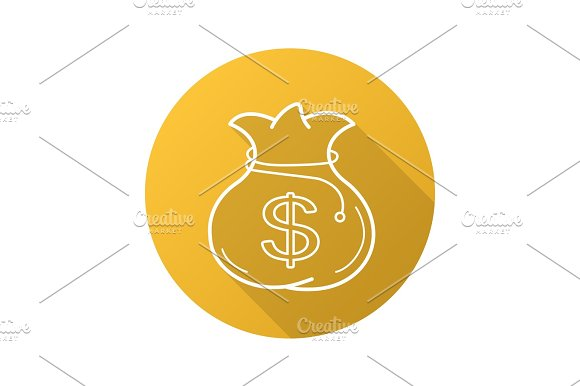 Bag With Money Flat Linear Long Shadow Icon