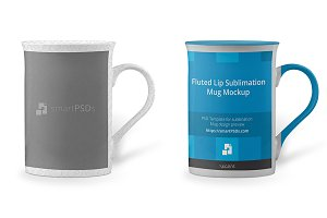 Fluted Lip Sublimation Mug Mockup