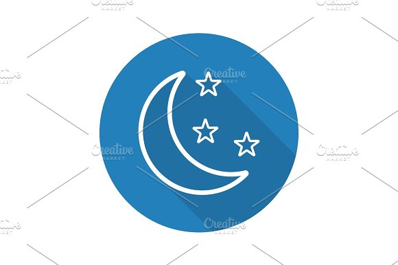 Moon And Stars Flat Linear Long Shadow Icon