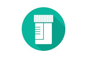 Medical tests jar flat design long shadow glyph icon