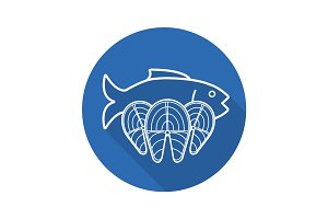 Seafood flat linear long shadow icon
