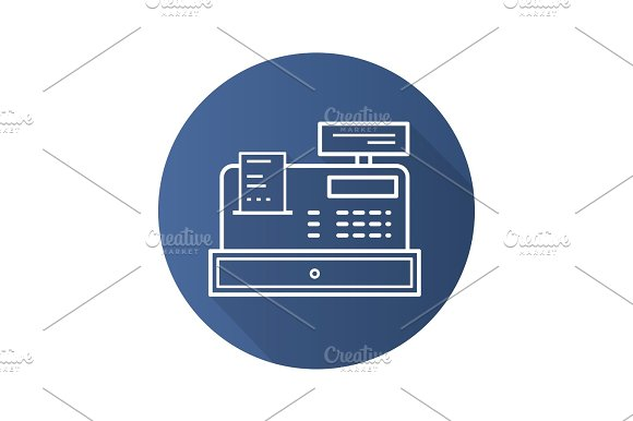 Cash Register Flat Linear Long Shadow Icon